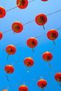 Red chinese lantern in happy chinese year yaowaratch bangkok at thailand Royalty Free Stock Images