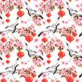 Red chinese lantern in spring pink flowers - apple, plum, cherry, sakura and dancing crane birds. Seamless pattern Royalty Free Stock Photo