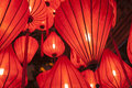 Red chinese lanterns asian illuminated Royalty Free Stock Photo