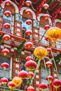 Red chinese lanterns in chinatown of san francisco beautiful california usa Royalty Free Stock Photos