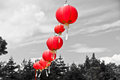 Red chinese paper lanterns horizontal shot Royalty Free Stock Image