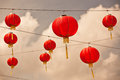 Red chinese paper lanterns instagram filtered shot Stock Image