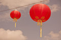Red chinese paper lanterns instagram filtered shot Royalty Free Stock Photos