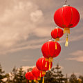 Red chinese paper lanterns square filtered shot Royalty Free Stock Photo