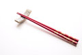 Red chopstick image of in white Royalty Free Stock Photo