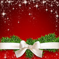 Red christmas background gift white ribbon with bow over starry vector illustration Royalty Free Stock Photo
