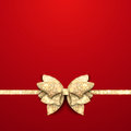 Red christmas background with gold bow shining Royalty Free Stock Images