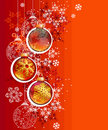 Red Christmas background with hanging balls Stock Image