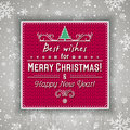 Red christmas background with label and greetings text, vector Royalty Free Stock Photo