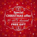 Red  christmas background and  label with sale off Royalty Free Stock Photo