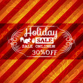 Red christmas background and label with sale offer vector illustration Royalty Free Stock Image
