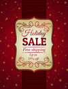 Red christmas background and label with sale offer vector illustration Stock Image