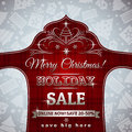 Red christmas background and label with sale offer vector illustration Royalty Free Stock Photography