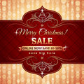Red christmas background and label with sale offer vector illustration Stock Photos