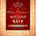 Red christmas background and label with sale offer vector illustration Royalty Free Stock Images