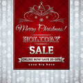 Red christmas background and label with sale offer vector illustration Stock Photography