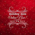 Red christmas background with label for sale, vect Royalty Free Stock Photo