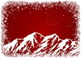 Red christmas background with mountains and snowflakes Stock Images