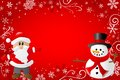 Red christmas background with santa claus and a sn vector illustration of snowman Royalty Free Stock Photos