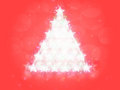 Red Christmas background stars tree