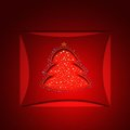 Red christmas background with tree and sparkles Royalty Free Stock Photo