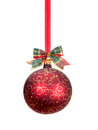 Red Christmas Ball With Gold D...