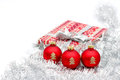 Red christmas ball and present Royalty Free Stock Images