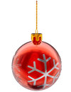 Red Christmas ball on white background Royalty Free Stock Photo