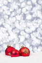 Red Christmas balls background stars decoration card Royalty Free Stock Photo