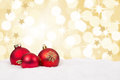 Red Christmas balls background stars golden decoration card Royalty Free Stock Photo