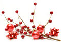 Red christmas balls and bows Royalty Free Stock Photos