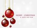 Red Christmas balls.Christmas vector background .