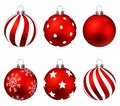 Red christmas balls on gift bows isolated on white. Set. illustration.