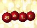 Red Christmas balls with golden word Sale Stock Photography