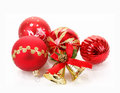 Red christmas balls on white Royalty Free Stock Photography