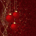 Red christmas balls wispy lines stars on background Stock Photo