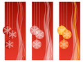 Red christmas banners Stock Photos