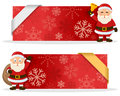 Red Christmas Banners with Santa Claus Royalty Free Stock Photo