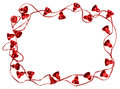 Red Christmas bell garland frame Stock Image
