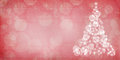 Red Christmas bokeh Christmas tree with grunge overlay Royalty Free Stock Photo
