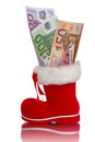 Red Christmas boot with Euro banknotes Royalty Free Stock Photo