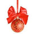 Red Christmas bow and ball Stock Images