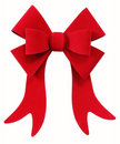 Red Christmas bow ribbon isolated on white Royalty Free Stock Photo