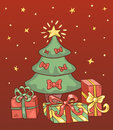 Red christmas card сartoon illustration Royalty Free Stock Photography