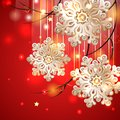 Red christmas card with gold snowflakes shiny diamonds vector Royalty Free Stock Photos