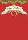 Red christmas card with horseshoe Royalty Free Stock Images