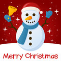 Red christmas card snowman merry with a cartoon holding a jingle bell with stars and snow on a background eps file available Stock Image