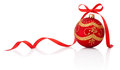 Red christmas decoration ball with ribbon bow isolated on white Royalty Free Stock Photo