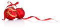 Red christmas decoration baubles with ribbon bow isolated on white background Royalty Free Stock Photo