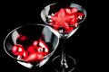 Red christmas decoration in the champagne glass Stock Photo